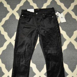 NWT 7 For All Mankind Black Velvet Jeans - 25